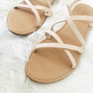 blush pink strapping sandals